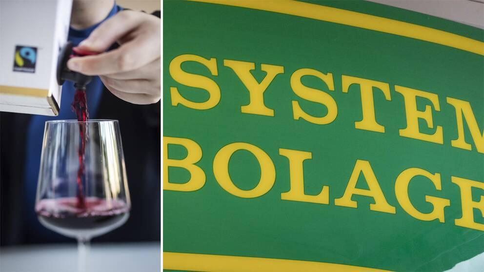 Vin som hälls upp från en bag in box och Systembolagets logotyp.