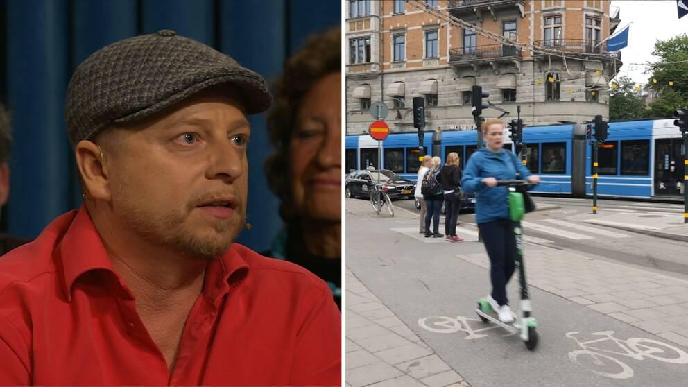 Pablo Cozzi, spårvagnsförare i Opinion live, och en elsparkcykel i trafiken.