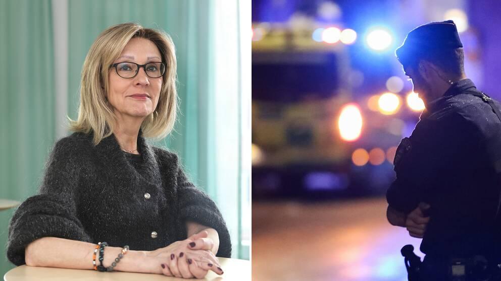 Marianne Kristiansson anser att unga gängkriminella som begår grova brott måste kunna avskiljas från samhället under en längre tid. Bilden till höger är tagen i samband med skottlossningen i Nacka den 8 september.