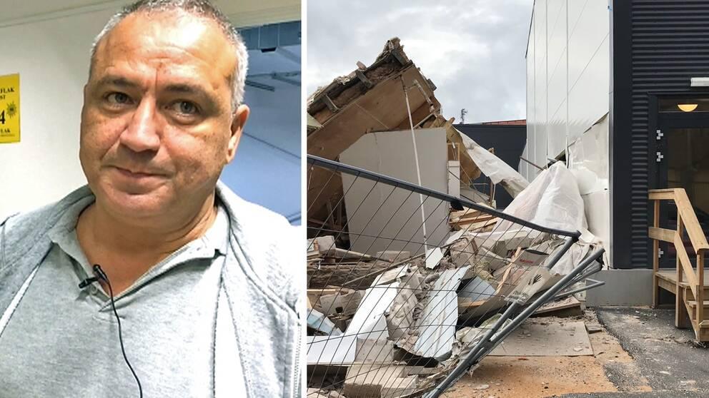 Porträtt Hosam Nazir intill mild av rivningsmassor som gjort sönder husvägg