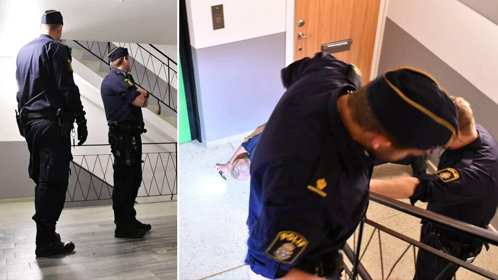 Polisen misstänker att någon stått i trappuppgången och skjutit mot lägenhetsdörren. På bilden undersöker polisen en tomhylsa som hittats i trappuppgången.