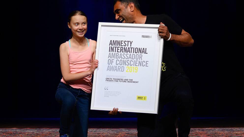 Greta Thunberg fick utmärkelse av Amnesty
