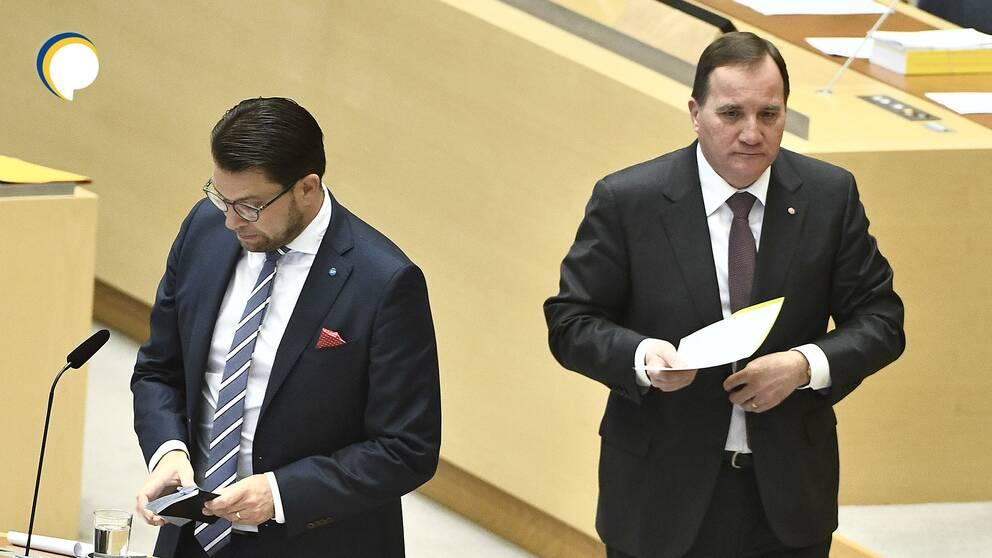 Jimmie Åkesson (SD) och Stefan Löfven (S) under en partiledardebatt
