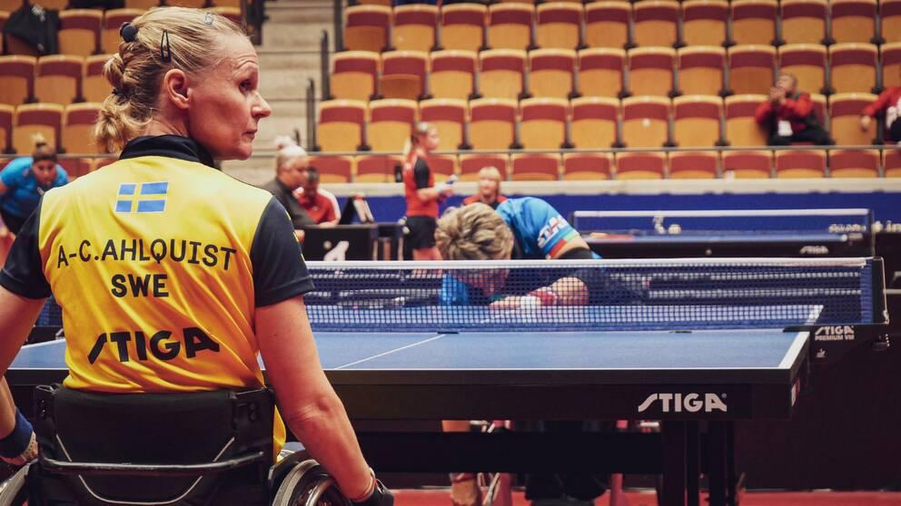 Paraidrottaren och världsettan Anna-Carin Ahlquist i Para-EM i pingis i Helsingborg Arena, september 2019.