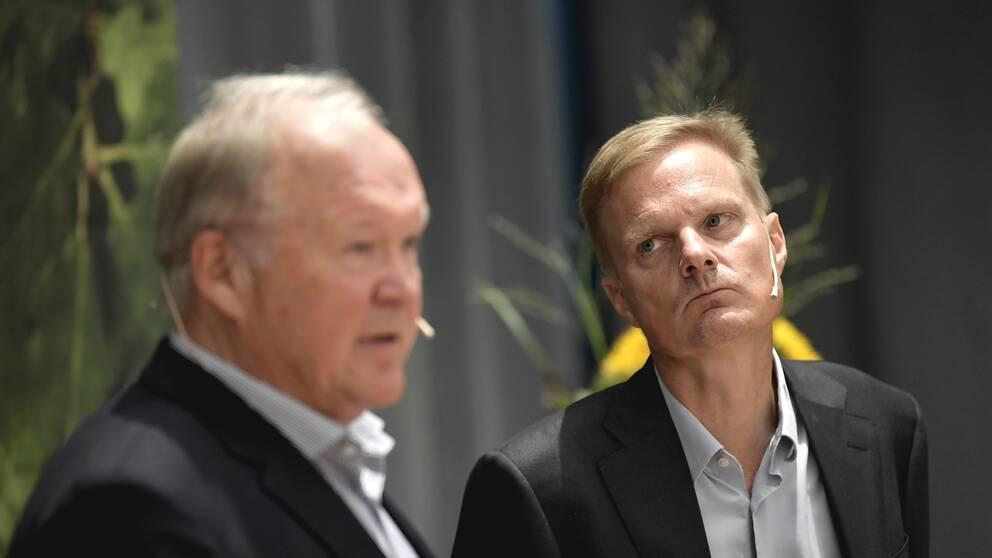 Swedbanks vd Jens Henriksson och ´bankens styrelseordförande Göran Persson