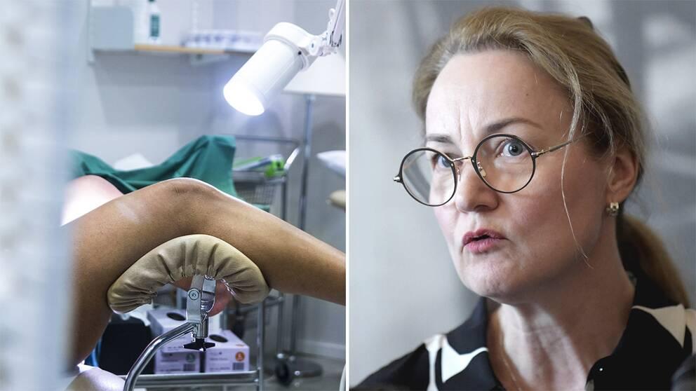 En kvinna i en gynstol och Ulrika Årehed Kågström, Cancerfondens generalsekreterare.