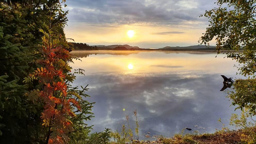 3 plusgrader vid 7 tiden 18 sept i Stensele, Västerbottens inland.