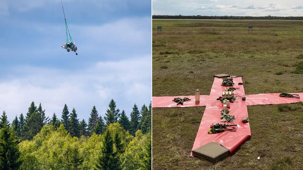 Tvådelad bild från flygolyckan i Umeå juli 2019 där den vänstra föreställer bärgningen av flygvraket och den högra ljus och blommor som lagts ut nära kraschplatsen.