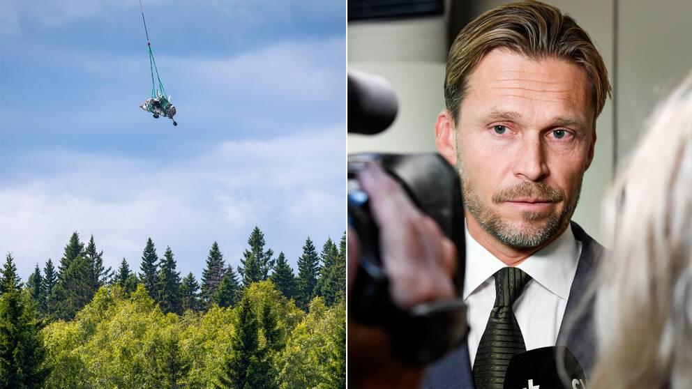 Tvådelad bild med en arkivbild från när flygplanet som kraschade i juli sommaren 2019 bärjades med helikopter och i andra bild Peter Swaffer, avdelningschef för civil luftfart på Statens haverikommission som presenterade delrapporten från utredningen av olyckan.