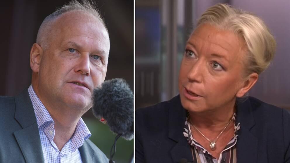 Jonas Sjöstedt, Vänsterpartiets ledare och Elisabeth Marmorstein, SVT:s politikreporter.