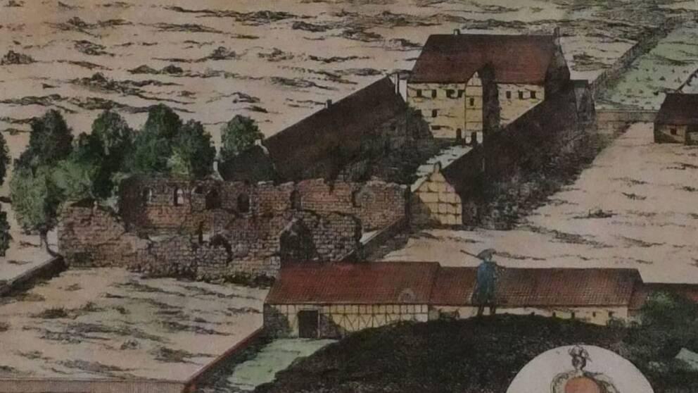 Den här teckningen från 1680-talet gav länsstyrelsens antikvarie en fingervisning om vart klosterruinen kan ligga. På teckningen är ruinen synlig till vänster.