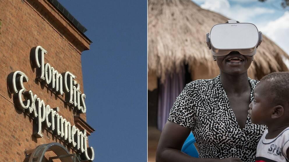 Kollage med Tom Tits fasad till vänster och flyktingmamma med barn i famnen och VR-glasögon på till vänster.
