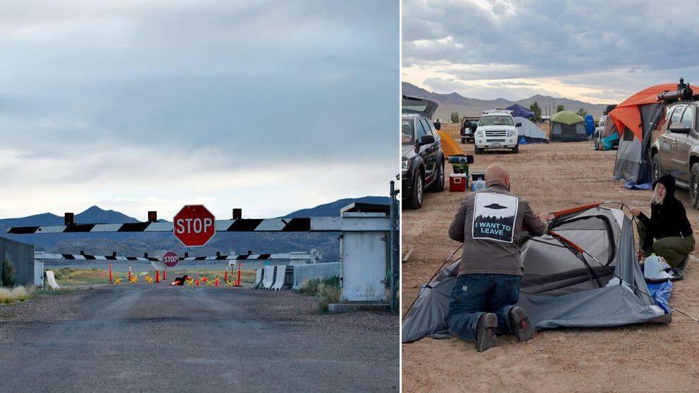 Besökare slår upp tält utanför Little A'Le'Inn i Nevada inför festivalerna som arrangerats efter Facebook-eventet om att storma Area 51.