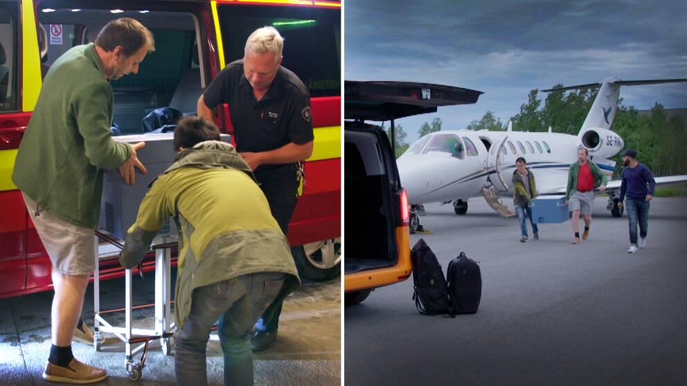En bild på tre personer som bär ut hjärtboxen ur en ambulans, och en när de bär hjärtboxen från ett flygplan.