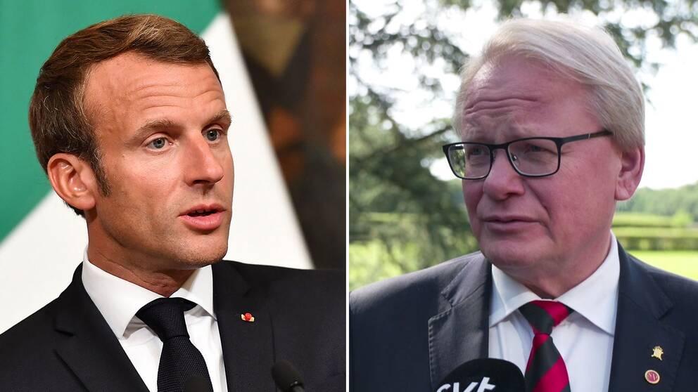Frankrikes presidemt Emmanuel Macron och svenske försvarsministern Peter Hultqvist