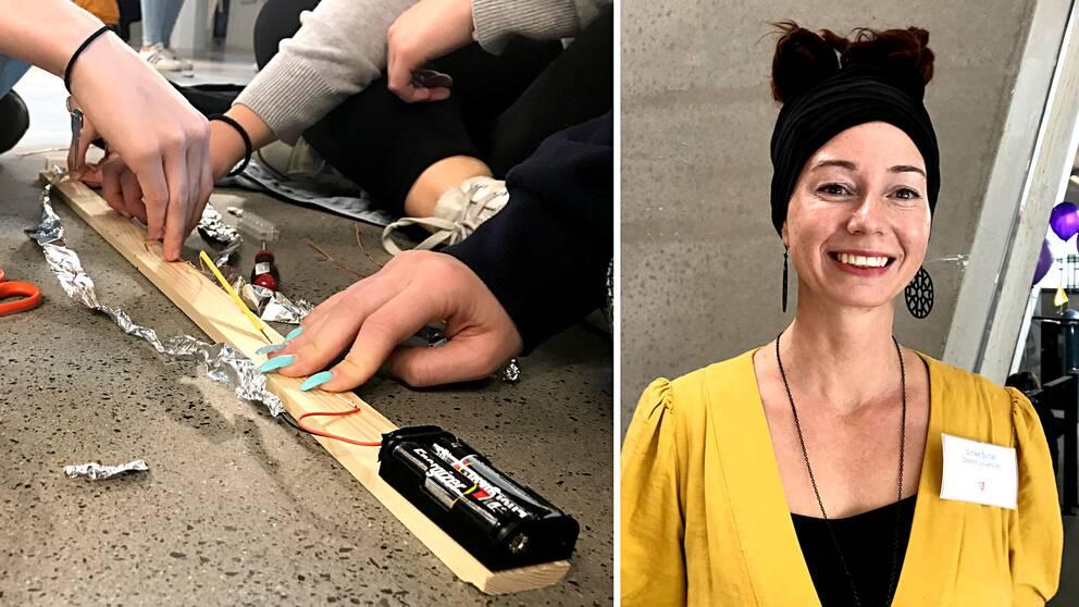 Närbild på händer med långa, turkos-målade naglar som håller i träbit med batterihållare påbyggd. Samt porträttbild på doktorand Ulrika Sultan.
