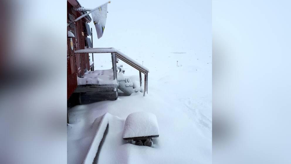 Bild på snötäckt trappa vid STF Gåsen