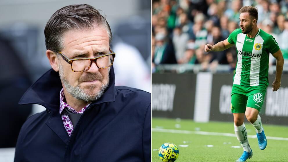 AIK:s tränare Rikard Norling och Hammarbys Maumer Tankovic.
