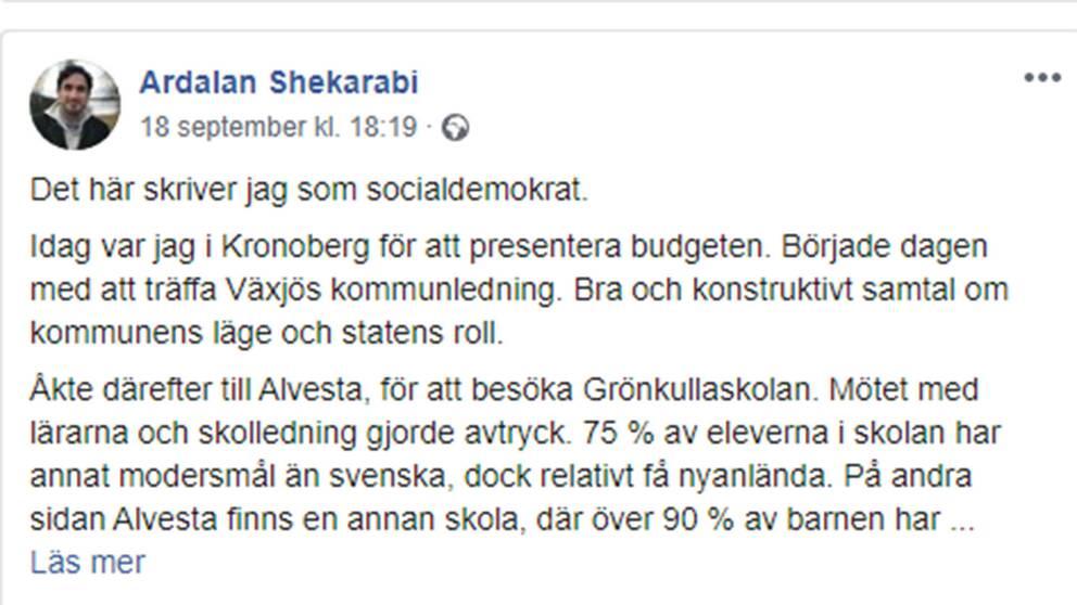 Skärmdump på delar av den text som Ardalan Shekarabi skrivit på Facebook.