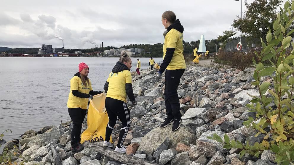 Ungdomar städar strand