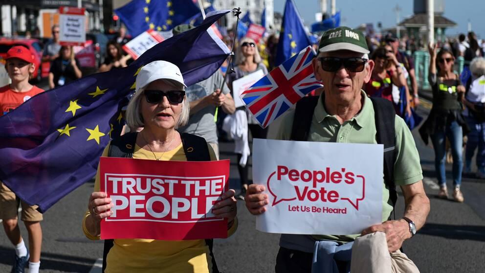 Demonstranter vid Labours-kongress som kräver en ny folkomröstning om brexit