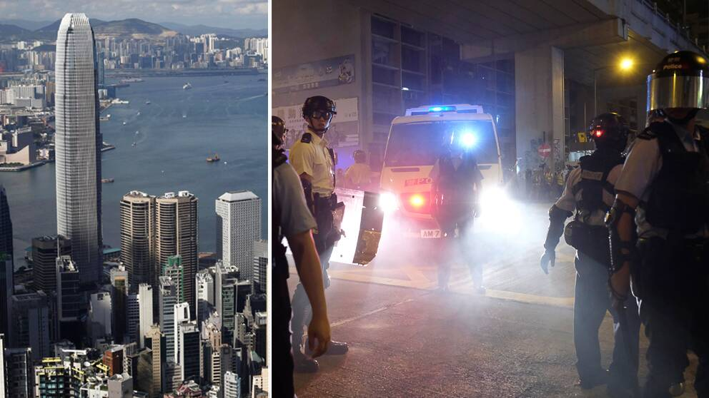 Amnesty ger demonstranterna i Hong Kong rätt och säger i en ny rapport att invånarnas rättigheter begränsats successivt ända sedan 2003. Till höger kravallpolis på gatorna under de fortsatta protesterna under måndagen.