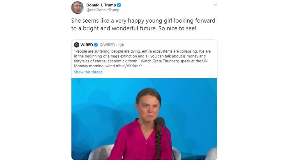 Trumps tweet om Thunberg.