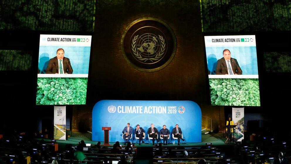 Statsminister Stefan Löfven talar inför FN:s generalförsamling.