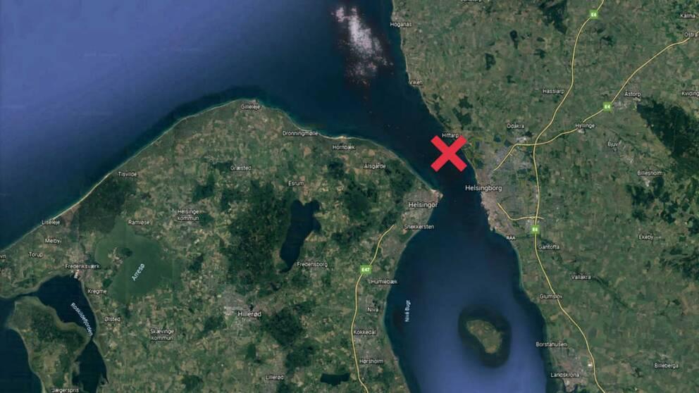 Kartbild som beskriver var fartyget gått på grund.