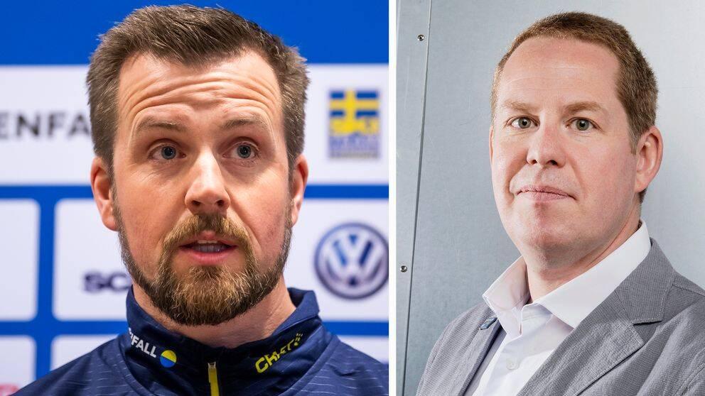 Johan Peterson (t.v.) fick lämna posten som landslagschef. Nu meddelar Ola Strömberg (t.h.) att organisationen görs om.