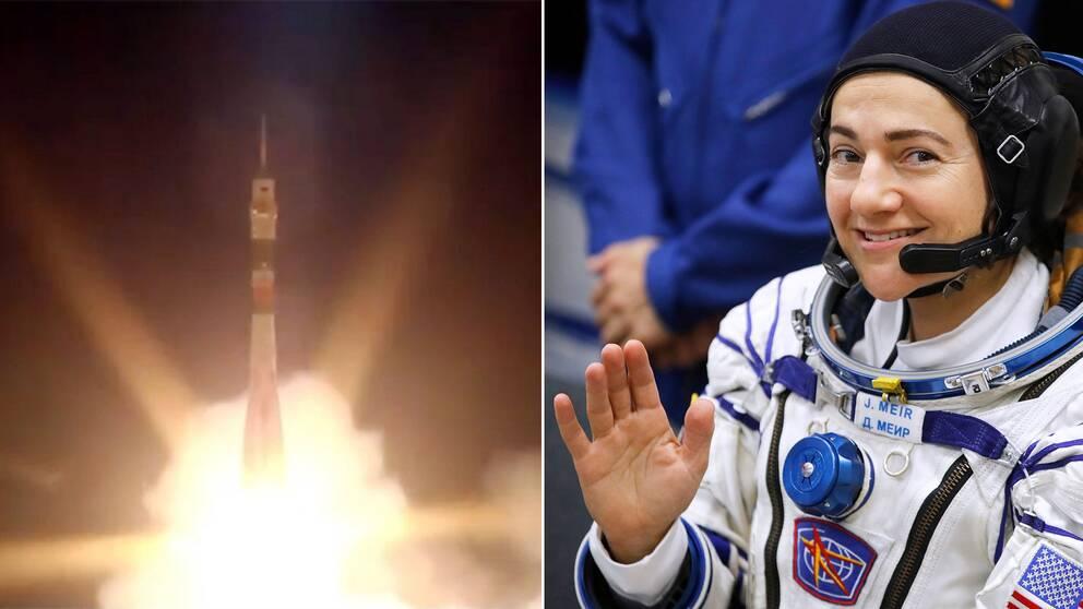 Uppskjutningen av Sojuz-FG-raketen med svenskamerikanska Jessica Meir ombord