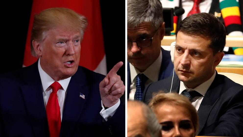 USA:s president Donald Trump och Ukrainas nyvalde president Volodymyr Zelenskyj.