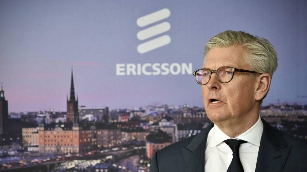 Ericssons vd Börje Ekholm under en pressträff tidigare i år.