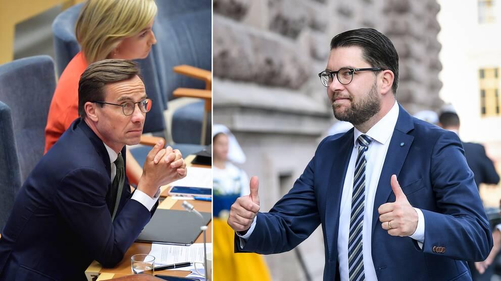 Sverigedemokraterna är återigen Sveriges näst största parti i mätningarna. Ulf Kristersson (t.v) och Moderaterna halkar ner till tredje platsen.