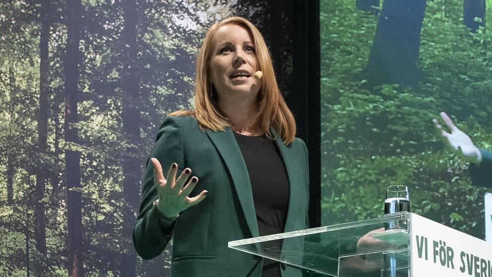 Centerpartiets partiledare Annie Lööf talar på partiets stämma i Karlstad.