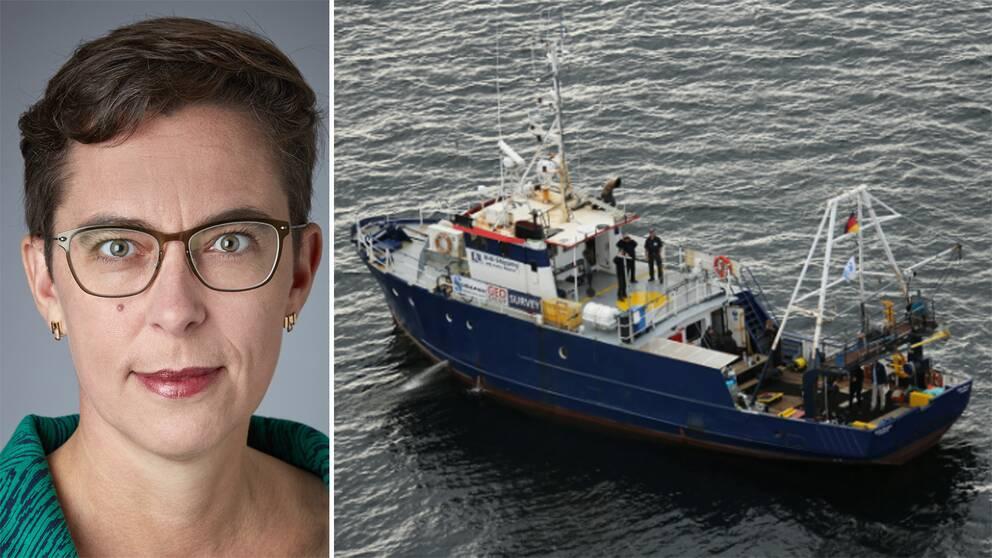 Helene Gestrin och fartyget som legat vid Estonias vrak.