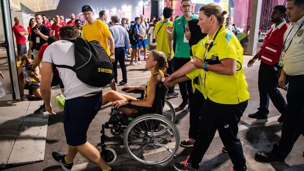 Cecilia Norrbom tvingades avbryta damernas maraton.