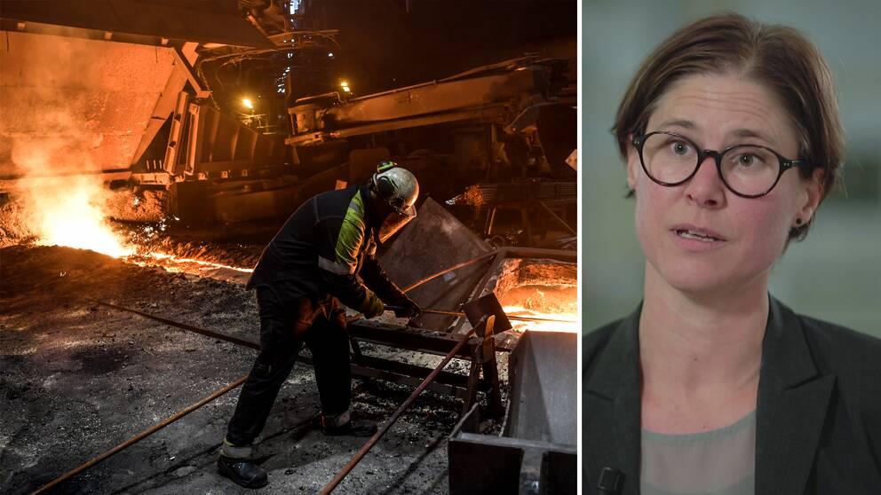 """Naturskyddsföreningens ordförande Johanna Sandahl säger att det behövs ett pris för koldioxiden som stålindustrin i Sverige släpper ut varje år. """"Det måste kosta att släppa ut"""", säger hon till SVT:s Agenda."""