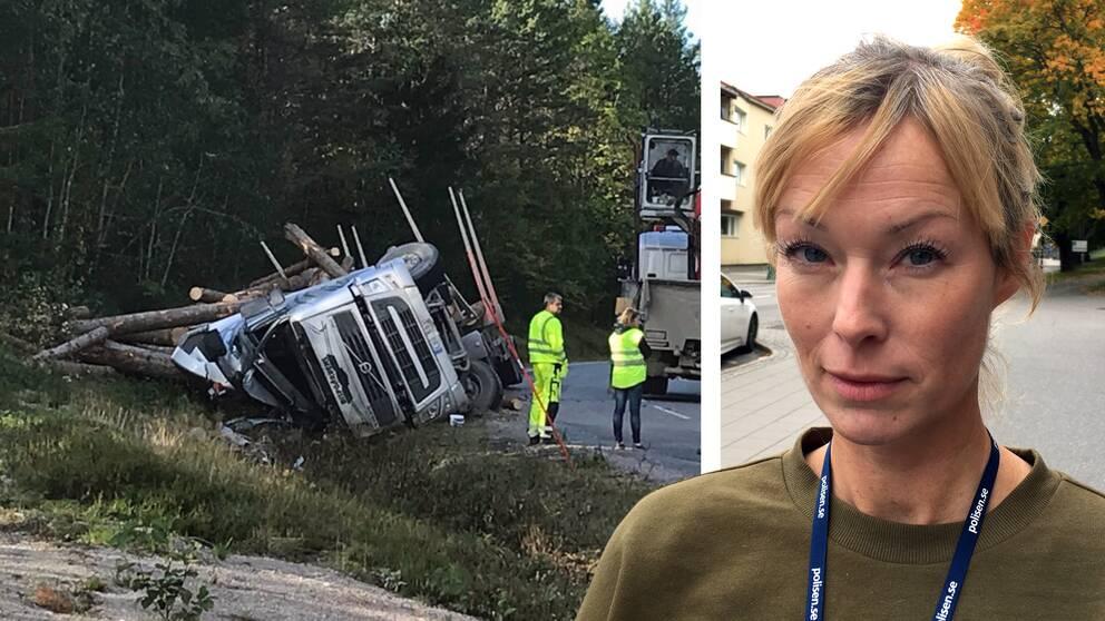 Bildmontage med polisen Alexandra Bergström och en trafikolycka