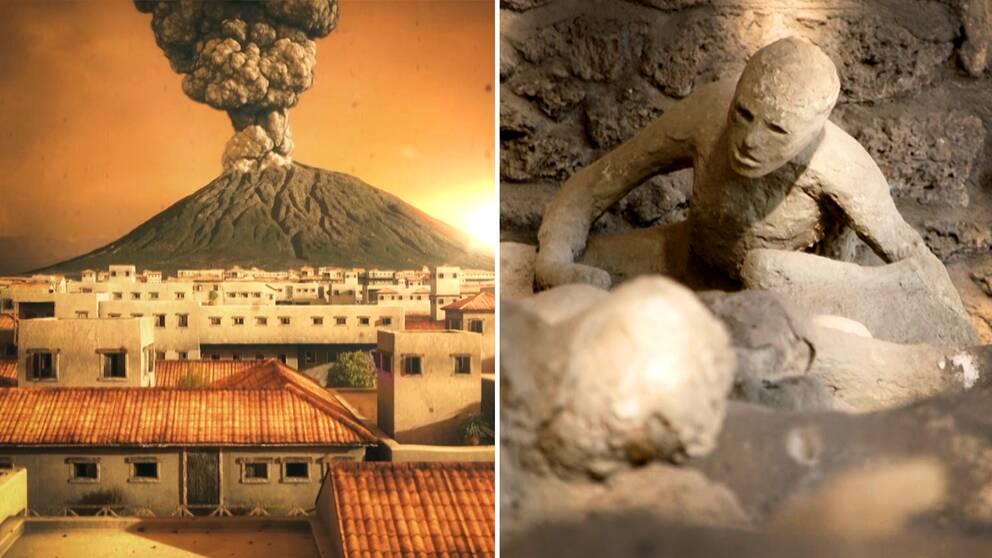 En animerad bild som visar vulkanen Vesuvius utbrott för snart två tusen år sedan, sett från staden Pompeji. Den andra bilden är på avjutningar av några av de människor som miste livet vid utbrottet.