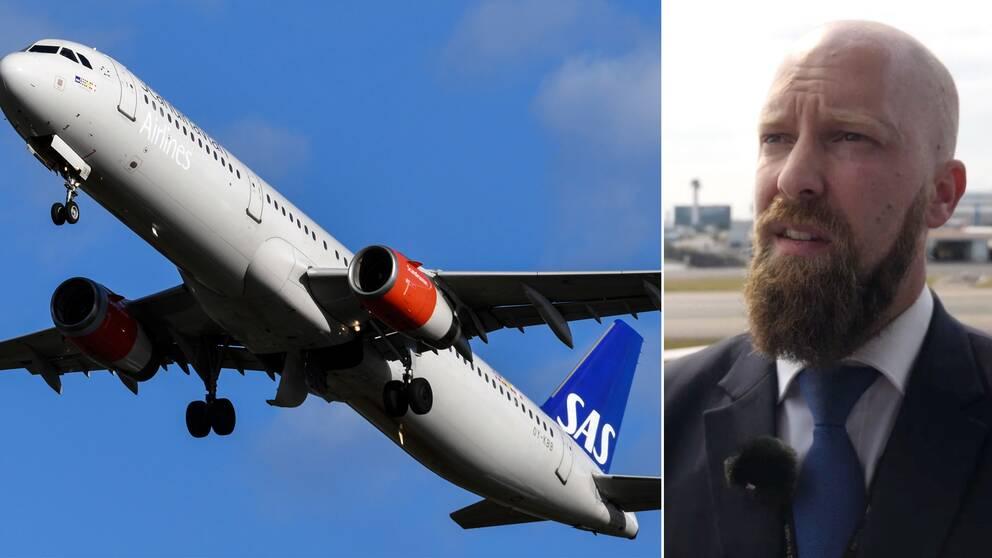Flygplan som flyger för Scandinavian Airlines och Robin, en tidigare anställd på flygbolaget SAS.