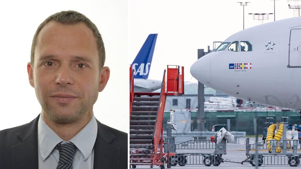Jens Holm (V) och ett SAS-plan