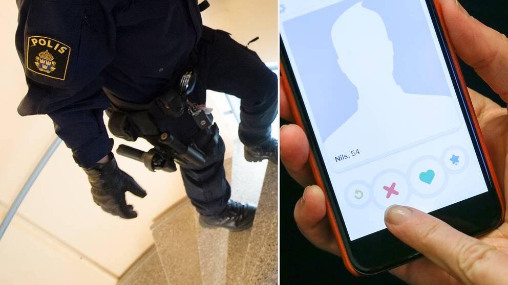 Uniformsklädd polis går uppför trappa, bilddelning med mobilskärm