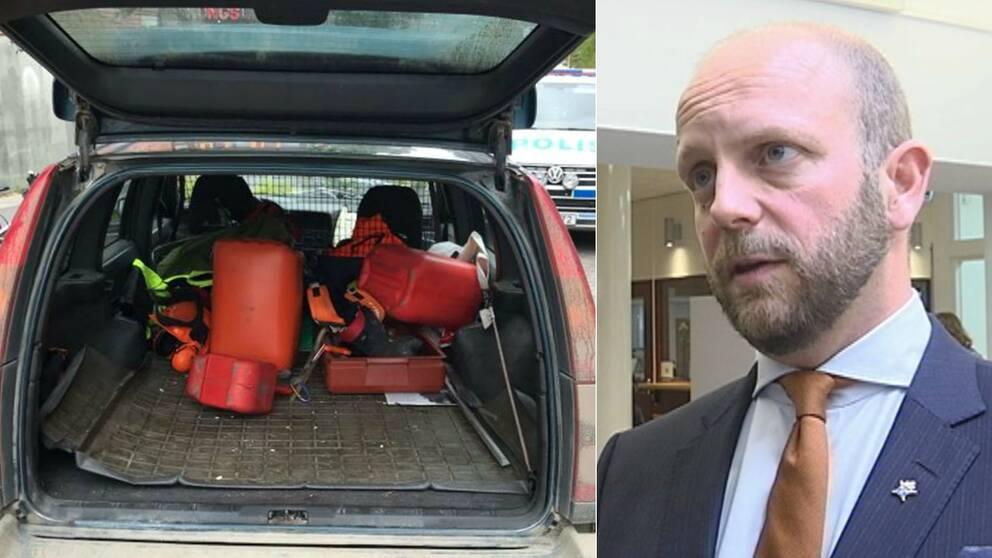 Bild på ett bagageutrymme i bilen som mannen körde. I bagaget ligger bensindunkar och utrustning för skogsarbete. Bild på kammaråklagare Henrik Olin.