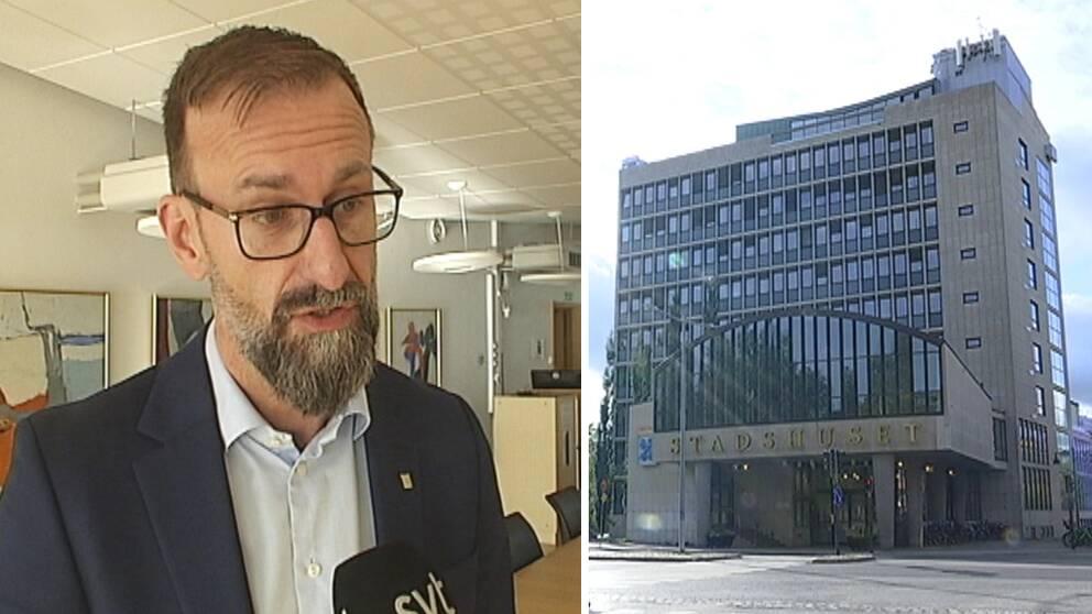 närbild på Lekfalk som intervjuas, och exteriör på Luleå stadshus