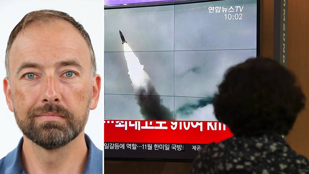 Anders Hörnedal vid Totalförsvarets forskningsinstitut (FOI) t v och bild på kvinna som kollar på sydkoreanska nyhetsändningar om den avfyrade ballisiska roboten.