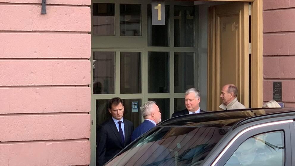 USA:s sändebud Stephen Biegun lämnar ett möte på Utrikesdepartementet i Stockholm den 4 oktober 2019.