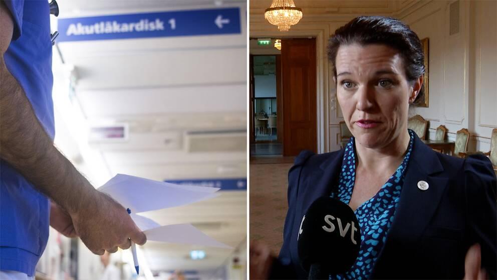 Lina Nordquist, sjukvårdspolitisk talesperson för Liberalerna står i en sal och blir intervjuad av SVT.