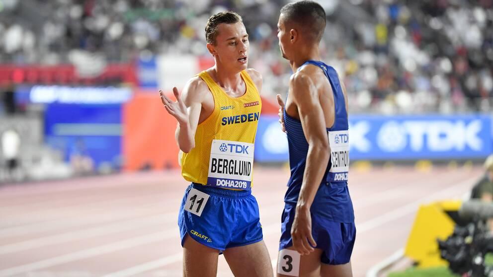 Sveriges Kalle Berglund efter finalen i herrarnas 1,500m under friidrotts-VM i Doha.