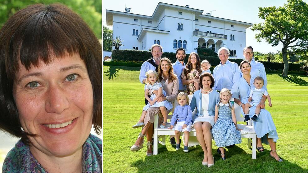 """""""Sverige har ju inte monarki för att det är så modernt och jämställt utan för att man anser att det upprätthåller någon form av historisk kontinuitet"""", säger Cecilia Åse. På bilden till höger syns hela kungafamiljen."""